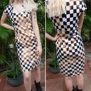 Distressed Grunge Bleached Checkered Punk Dress